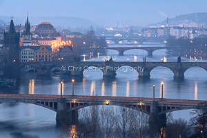 Winter Over The Bridges, Prague