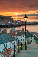 2, Summer. 'Blazing Skies', Whitby. 16x10.66 inch print, signed.