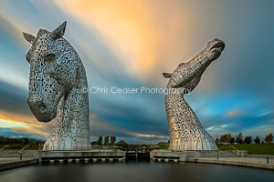 The Kelpies, Sunset