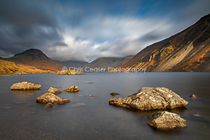 3, Autumn. 'Mixed light Over Wast Water, Lake District'. 16x10.66 inch print, signed.