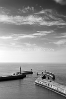 Reaching Out,Whitby. monochrome