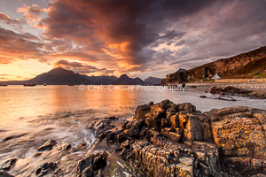 1, Spring. 'Fire Over The Cuillin, Skye'. 16x10.66 inch print, signed.